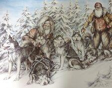 1987 Signed Doug Lindstrand Old Men Sled Dogs Huskies Print Alaskan Sketches