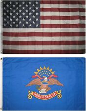 Wholesale Combo Lot of 3x5 USA Flag & State of North Dakota 3x5 2 Flags Banner