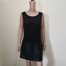 NB Black Stretchable Sheer Dress with Leather Skirt