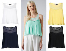 Unbranded Chiffon Cropped Sleeveless Tops & Shirts for Women