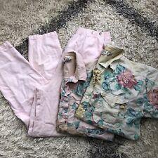 Vtg 90s Gitano Ma Maternity Pants Button Up Shirt Outfit Sz Medium Pink Floral