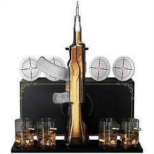 KROWN KITCHEN - Gun Whiskey Decanter Set. Includes Whiskey glasses, coasters,