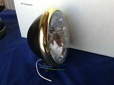 """5 3/4"""" Super Cool Old School Black & Brass Headlight for your motorcycle"""