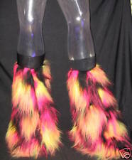 UV PINK YELLOW BLACK FLUFFIES FLUFFY LEGWARMERS BOOTS COVERS RAVE