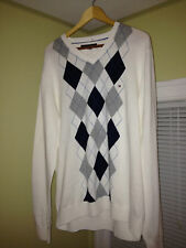 Tommy Hilfiger Men's Argyle V Neck Cotton Long Sleeve Sweater Shirt