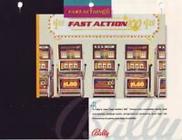 BALLY GAMING FAST ACTION 100 COIN-OP CASINO SLOT MACHINE PROMO SALES FLYER