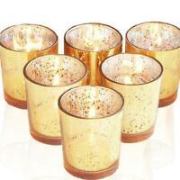 Gold Votive Candle Holder Bulk Mercury Glass Tealight 12 of Set For Wedding V0A0