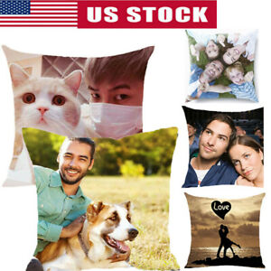 18'' Personalised Cushion Cover Pillow Case Custom Collage Photo Pet Printed US