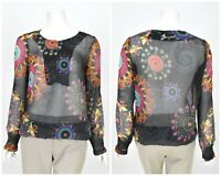 Womens Desigual Blouse Shirt Henley Neck Sheer Floral Multicolor Summer Size L
