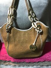 Michael Kors Lilly Natural & Stone Straw Leather Trim Snap Shoulder Bag Hobo
