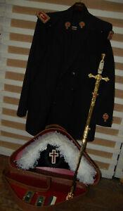 Vintage Masonic Knights Templar Chapeau Bicorn Hat Sword Scabbard Coat ~ Estate