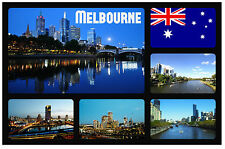 MELBOURNE, AUSTRALIA - SOUVENIR NOVELTY FRIDGE MAGNET - SIGHTS / FLAGS - GIFTS