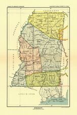 1896 map Mississippi United States Indian land cessions POSTER 36