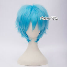 30CM Anime Basic Short Layered Sky Blue Unisex Party Cosplay Hair Wig+Wig Cap