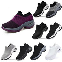 Women Sport Air Cushion Sneakers Slip On Running Shoes Breathable Mesh Walking
