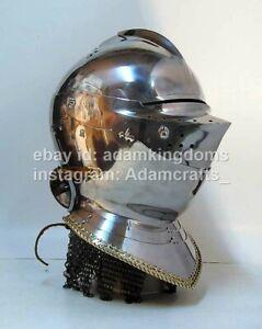 Medieval 2.5mm Steel Close Helmet Armet Helmet XV Ct