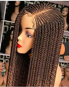 Braided Wig: Custom Handmade Cornrows Feedin Closure Lacewig .24' Location USA,