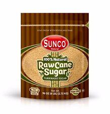 Sunco Natural Raw Cane Sugar, Turbinado Sugar, Demerara Sugar 6 Lb Bulk
