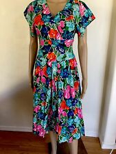 VTG Size 10 M Bright Floral Swing Dress 50's 80's Hawaiian Wrap Top