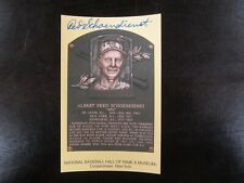 RED SCHOENDIENST AUTOGRAPH / SIGNED GOLD HALL OF FAME POSTCARD Cardinals