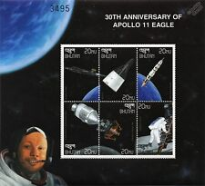APOLLO XI Neil Armstrong / First Man on the Moon Space Stamp Sheet (1999 Bhutan)