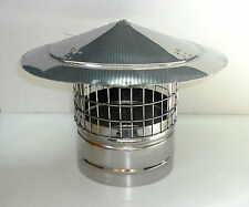 CHIMNEY COWL with Bird Guard Stainless Steel Rain Cap INOX to fit 6'' / 150mm