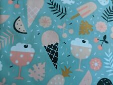 Polyurethane Laminate PUL Fabric Printed Cotton Waterproof Ice Cream ONE YARD
