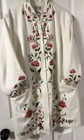 Vintage Victor Costa Occassion 2X Dress Coat Jacket Embroidered Floral Flowers