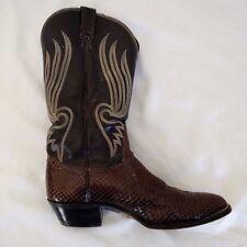 Tony Lama Anaconda / Men's Sz 9 E US / Black Leather Brown Snakeskin Cowboy Boot