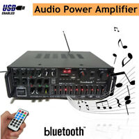 2000W bluetooth Stereo Amplifier HIFI 2CH Tuner USB SD Mic Input Remote