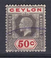 1912-25 GV CEYLON 50c GOOD USED SG314 WMK CROWN CA
