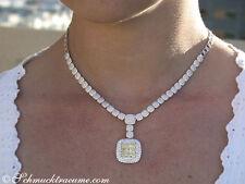 Nobelklasse: Brillanten Collier mit gelben Diamanten, 9.18 ct. VS WG-750 40000€