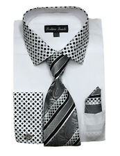 Men's French Cuff Dress Shirt with Tie and Hanky Set #630 Black, White, Khaki