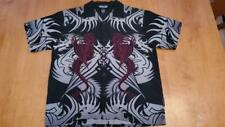 Silver Point Boys Youth grey/black red Dragons Tribal Shirt  Large Camp Shirt