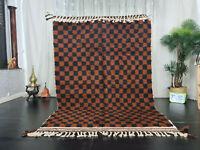 "Moroccan Beni Ourain Handmade Carpet 5'3""x7'7"" Checkered Berber Black Brown Rug"