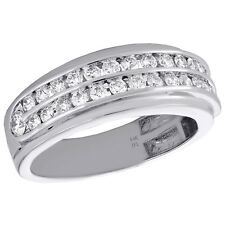 14K White Gold Mens Round Diamond Wedding Band 8.25mm Channel Set Ring 1.15 CT.