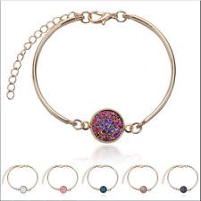 Women Fashion Bangles Natural Geode Stone Jewelry Rhinestone Pave Bracelet Gifts