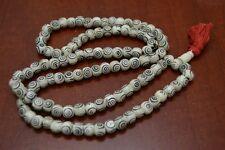 108 PCS CARVED WHITE TIBETAN BUDDHIST BONE MALA PRAYER BEADS 10MM #T-1829