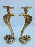 "Vintage Solid Brass Snake Cobra Candlestick Candle Holder Pair 8-3/4"" H, Heavy"