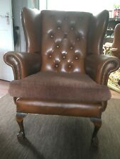 Vintage Chesterfield Queen Anne Style Leather Armchair High Back Wing Chair