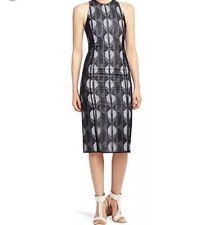 Hugo Boss $1295 Dalasi Runway Show Midi Dress Size 2 Black Ivory Embroidered