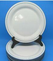 "Lenox Chinastone Blue Pinstripes 8 3/8"" Salad Plates Set Of 5 Plates"
