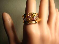 FABULOUS ESTATE 14 K GOLD DIAMOND & MULTI COLOR TOPAZ BAND 8.4 GRAMS SIZE 7 1/4