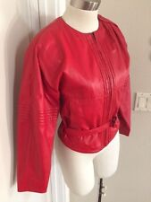 RED LEATHER Bomber jacket LAMATTA made in Italy small Belted Beautiful