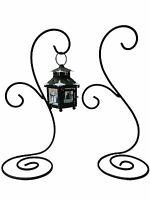Black Iron Hanging Planter Stand Plant Holder Lantern Display Decor  Set of 2