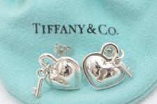 f5853e6fc Tiffany & Co. Sterling Silver Heart Padlock Lock and Key Stud Earrings in  Box