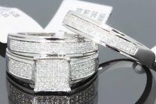 WHITE GOLD .56 CT HIS HER DIAMOND WEDDING RING ENGAGEMENT BAND BRIDAL TRIO SET