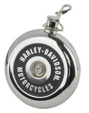 More details for harley-davidson® air cleaner style round flask, 8 oz. - silver stainless steel