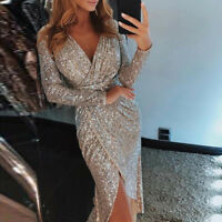 Sexy Womens V-Neck Long Sleeves Bodycon Evening Cocktail Party High Split Dress