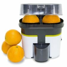 Exprimidor Naranjas Cítricos de Doble Cabezal con Cortador de Fruta en la Tapa